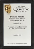 Movie/TV Memorabilia:Awards, Dudley Moore's 1989 American Comedy Award Nomination....