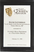 Movie/TV Memorabilia:Awards, David Letterman's 1998 American Comedy Award Nomination....