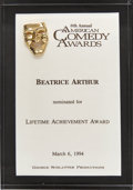 Movie/TV Memorabilia:Awards, Bea Arthur's 1994 American Comedy Award Nomination....