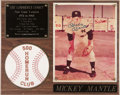 Autographs:Others, Mickey Mantle Signed Photo Plaque. ...