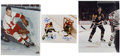 Hockey Collectibles:Others, Mario Lemieux, Gordie Howe, And Others Signed Oversized Photographs Lot Of 3....