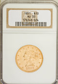 Liberty Eagles: , 1851 $10 AU55 NGC. NGC Census: (52/55). PCGS Population (7/13).Mintage: 176,328. Numismedia Wsl. Price for NGC/PCGS coin i...