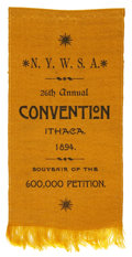 Political:Ribbons & Badges, Woman's Suffrage: Ithaca, New York Convention Ribbon, 1894....