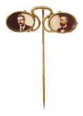 Political:Pinback Buttons (1896-present), Theodore Roosevelt: Classic Pince-Nez Stickpin with Celluloid Portraits of TR and Running Mate Charles Fairbanks....