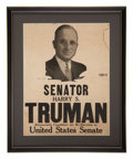 Political:3D & Other Display (1896-present), Harry S Truman: 1940 Senate Re-election Poster....