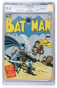 Batman #15 (DC, 1943) CGC Qualified VF 8.0 White pages