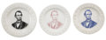 Political:3D & Other Display (pre-1896), Abraham Lincoln: A Unique Set of Three Ceramic ABC Plates....(Total: 3 Items)