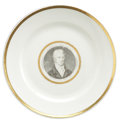 Political:3D & Other Display (pre-1896), James Monroe: An Exceedingly Rare Ceramic Dinner Plate DepictingHim as President....