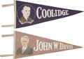 Political:Textile Display (1896-present), Calvin Coolidge and John W. Davis: Pair of 1924 Campaign FeltPortrait Pennants....