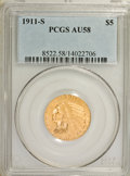 Indian Half Eagles: , 1911-S $5 AU58 PCGS. PCGS Population (148/809). NGC Census:(511/673). Mintage: 1,416,000. Numismedia Wsl. Price for NGC/PC...