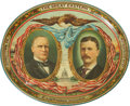 Political:Advertising, McKinley & Roosevelt: Large Oval Jugate Lithographed TinTray....