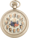 Military & Patriotic:Spanish American War, Wonderful Pocket Watch Featuring William McKinley, Theodore Roosevelt, Admiral Dewey, and Spanish American War Themes....