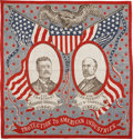 Political:Textile Display (1896-present), Roosevelt & Fairbanks: Colorful 1904 Bandanna....