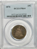 Proof Seated Quarters: , 1876 25C PR64 PCGS. PCGS Population (44/23). NGC Census: (50/55).Mintage: 1,150. Numismedia Wsl. Price for NGC/PCGS coin i...