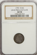 Early Half Dimes, 1795 H10C AU58 NGC. LM-8 Price/LM Plate. NGC Census: (90/117). PCGSPopulation (48/123). Mintage: 78,600. Numismedia Wsl. P...