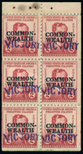 Stamps, 1944, 2c Rose, Booklet Pane of 6 (463a),...