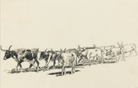JOHN EDWARD BOREIN (American, 1873-1945) Standing Herd, 1915 Ink on paper 7-1/2 x 11-1/2 inches (