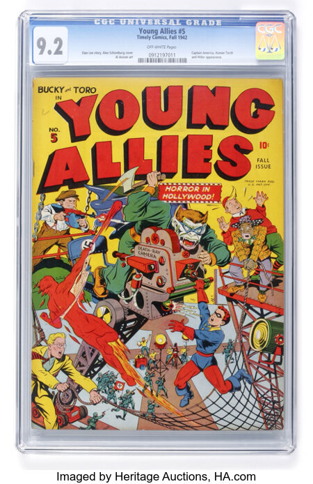 Young Allies Comics #5 (Timely, 1942) CGC NM- 9.2 Off-white pages....