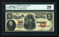 Large Size:Legal Tender Notes, Fr. 88 $5 1907 Legal Tender PMG Very Fine 20....