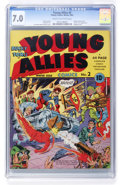 Golden Age (1938-1955):Superhero, Young Allies Comics #2 (Timely, 1941) CGC FN/VF 7.0 Cream to off-white pages....