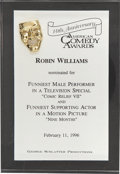 Movie/TV Memorabilia:Awards, Robin Williams' 1996 American Comedy Award Nomination....