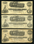 Confederate Notes:1862 Issues, T40 $100 1862 Five Examples.. ... (Total: 5 notes)