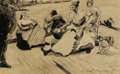 Fine Art - Work on Paper:Drawing, ETHEL MAY KLINCK MYERS (American, 1881-1960). Figures on aDock, 1902. Pen and ink on paper. 4 x 6-1/2 inches (10.2 x16...
