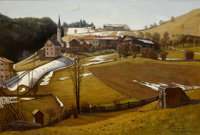 WALTER ROSE (German, 1903-1964) Springtime Thaw in Wartime Germany Oil on canvas 36-1/2 x 53-3/4