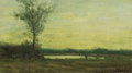 Fine Art - Painting, American:Modern  (1900 1949)  , WILLIAM BAYLIES JR. (American, 1859-1934). Sunset Landscape.Oil on panel. 6 x 10-3/8 inches (15.2 x 26.4 cm). Signed lo...