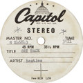 "Music Memorabilia:Recordings, Beatles ""Get Back"" Stereo Acetate (Capitol S X46843, 1969)...."
