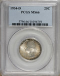 Washington Quarters: , 1934-D 25C Medium Motto MS66 PCGS. . PCGS Population (74/4). NGCCensus: (29/4). Mintage: 3,527,200. Numismedia Wsl. Price ...
