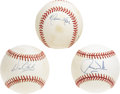 Autographs:Baseballs, Baseball Sluggers Single Signed Baseballs Lot of 3. Each of thethree ONL (White) baseballs that we offer here sports an in...
