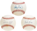 Autographs:Baseballs, Hall of Famers Single Signed Baseballs Lot of 3. Three Hall ofFamers inducted since the turn of the century have each cont...