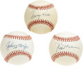 Autographs:Baseballs, Baseball Hall of Famers Single Signed Baseballs Lot of 3. All threeof the official orbs that we make available here has be...