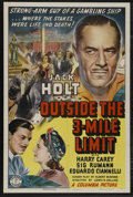 "Movie Posters:Adventure, Outside the 3-Mile Limit (Columbia, 1940). One Sheet (27"" X 41"").Adventure. Starring Jack Holt, Harry Carey, Sig Ruman, Edu..."