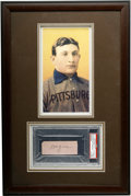 "Autographs:Letters, Honus Wagner PSA Authentic Cut Signature Display. Signed simply""Wagner"" the Flying Dutchman's super-desirable signature an..."