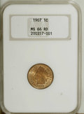 Indian Cents: , 1907 1C MS66 Red NGC. A solidly struck Premium Gem that has brightsurfaces in pale orange, light enough that they border o...