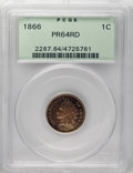 Proof Indian Cents: , 1866 1C PR64 Red PCGS. Rich reddish-orange surfaces add instant eye appeal to this Choice specimen. The robustly impressed ...