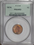 Proof Indian Cents: , 1874 1C PR64 Red PCGS. Boldly defined with vivid reddish-orange surfaces. The portrait has faint contact marks that restric...