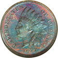 Proof Indian Cents: , 1877 1C Cameo PR65 Red and Brown NGC. Electric blue dominates the surfaces, which also have distinctive violet, reddish-ora...
