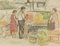 Fine Art - Painting, American:Modern  (1900 1949)  , JEROME MYERS (American, 1867-1940). Grocery Shopping on FirstAvenue. Mixed media on paper. 8-1/4 x 10-1/2 inches (21.0 ...