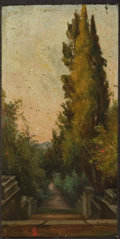 Fine Art - Painting, European:Antique  (Pre 1900), KARL-AUGUST LEBSCHE (German, 1800-1877). An Entrance to an Estate. Oil on panel. 7-1/4 x 3-1/2 inches (18.4 x 8.9 cm). I...