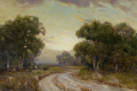 JULIAN ONDERDONK (American, 1882-1922) Evening Near Jackson, Southwest Texas Oil on canvas 16 x 2
