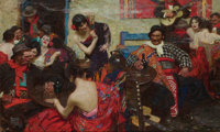 DEAN CORNWELL (American, 1892-1960) Spanish Tavern, 1922 Oil on canvas 28 x 45 in. Signed lowe