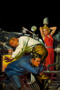 Paintings, NORMAN SAUNDERS (American, 1907-1989). Shootout at the Steam Pipes, pulp cover, c. 1935. Oil on canvas. 35 x 24 in.. Sig...