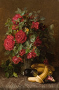 Fine Art - Painting, American:Modern  (1900 1949)  , SUSIE W. DUGAN (American, 20th Century). Still Life with Roses,Bananas, and Figs. Oil on canvas. 16 x 24 inches (40.6 x...