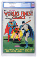 Golden Age (1938-1955):Superhero, World's Finest Comics #3 (DC, 1941) CGC FN/VF 7.0 Off-white pages....