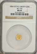 California Fractional Gold: , 1854 25C Liberty Octagonal 25 Cents, BG-105, R.3, MS65 NGC. NGCCensus: (7/3). PCGS Population (19/5). (#10374)...