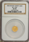 California Fractional Gold, 1854 50C Round Liberty 50 Cents, BG-1304, R.4, AU58 NGC. NGCCensus: (1/12). PCGS Population (27/72). (#10428)...