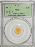 California Fractional Gold: , 1871 50C Liberty Octagonal 50 Cents, BG-912, R.3, MS64 PCGS. PCGSPopulation (32/6). NGC Census: (5/4). (#10770)...